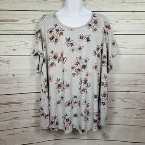 TORRID short sleeve floral top with lace up back